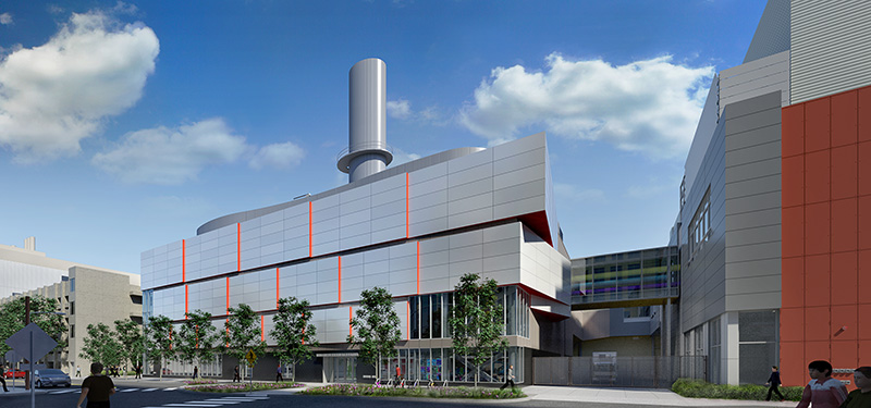 Proposed cogeneration plant rendering, view from Albany Street